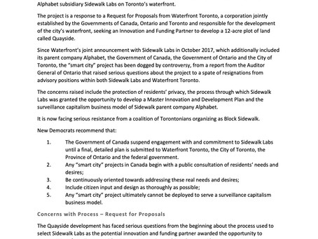 NDP's Supplemental Report on Smart Cities and Democratic Rights