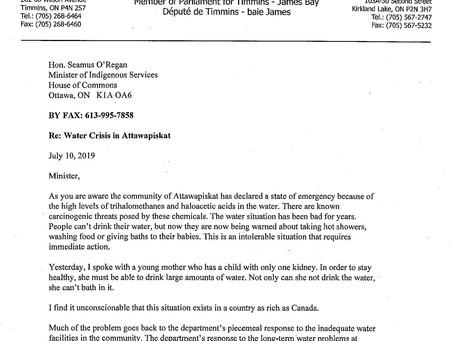 Letter to Minister of Indigenous Services O'Regan Regarding the Water Crisis in Attawapiskat