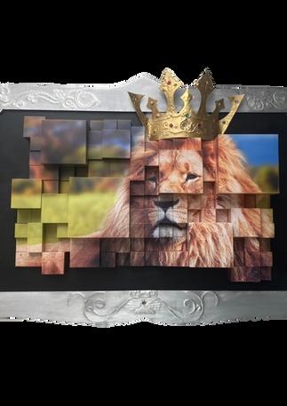 Tableau cubes lion déstructuré