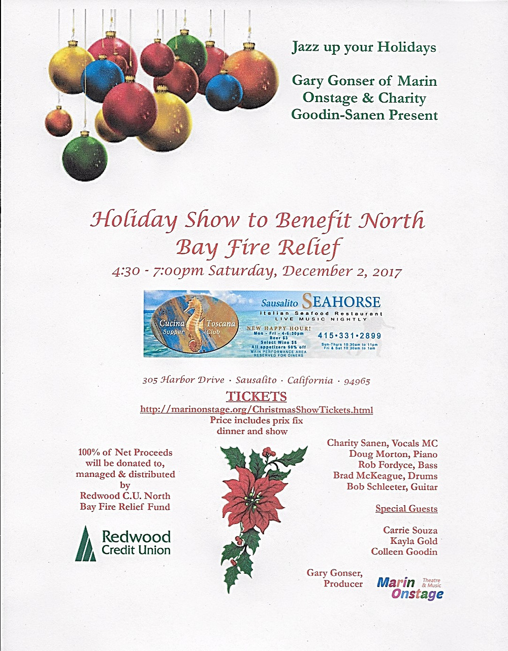 Holiday Jazz Show 12/2/17 Seahorse of Sausalito