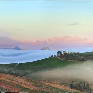 Misty Tuscan sunrise