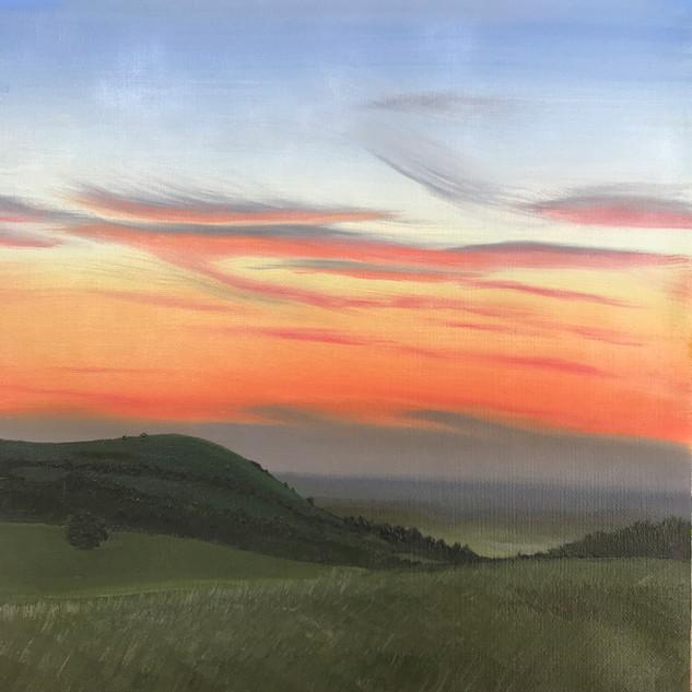 Sunset behind Wolstonbury