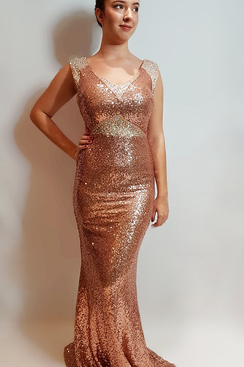 Robe sequin rose gold