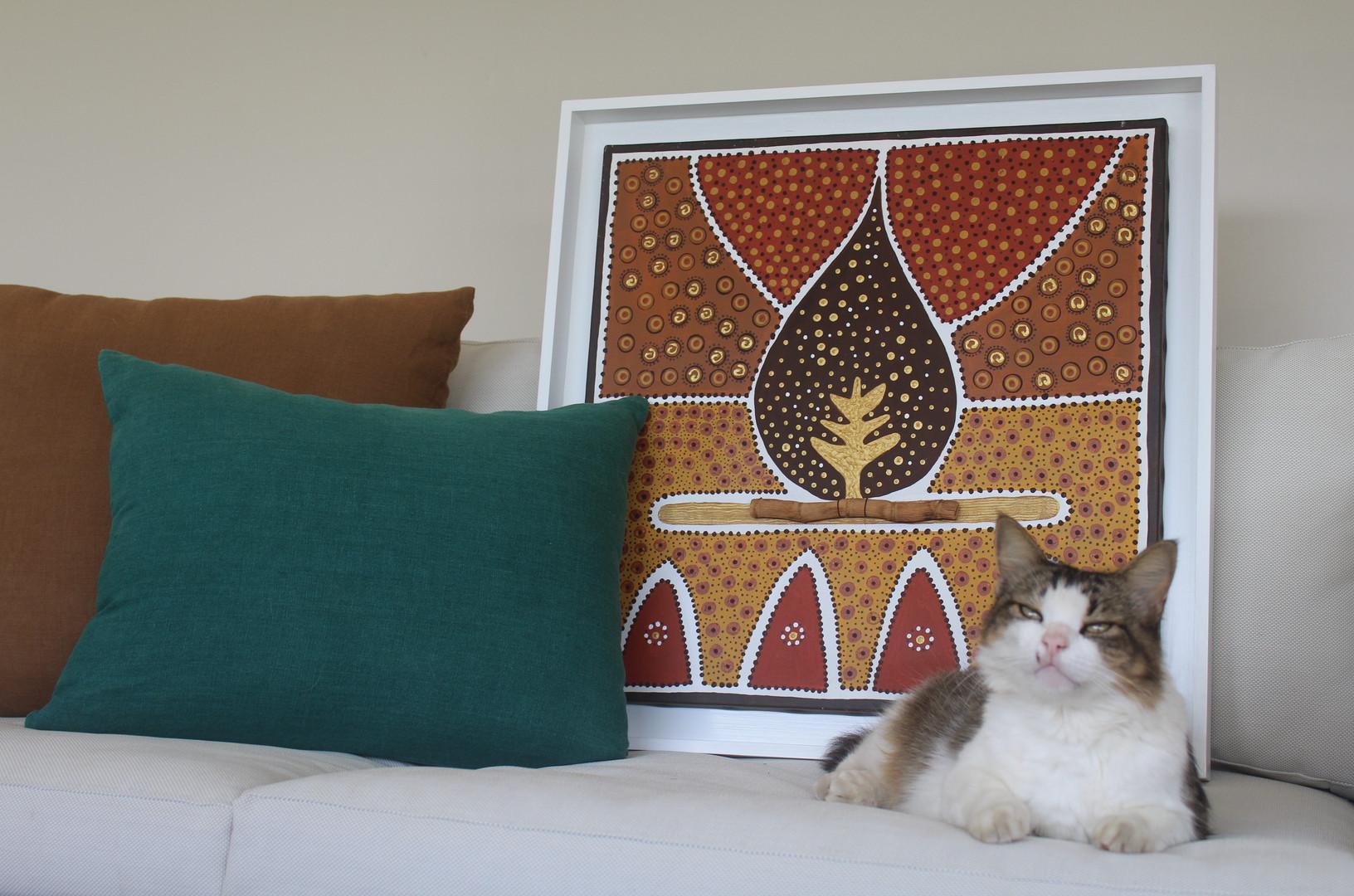 """""""Feuille"""" et notre chat Pepsi amateur d'art.jpg"""
