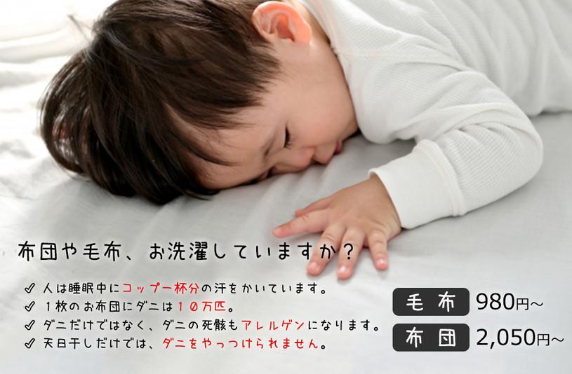 清潔な生活は清潔な寝具から!布団・毛布のお洗濯にご利用ください