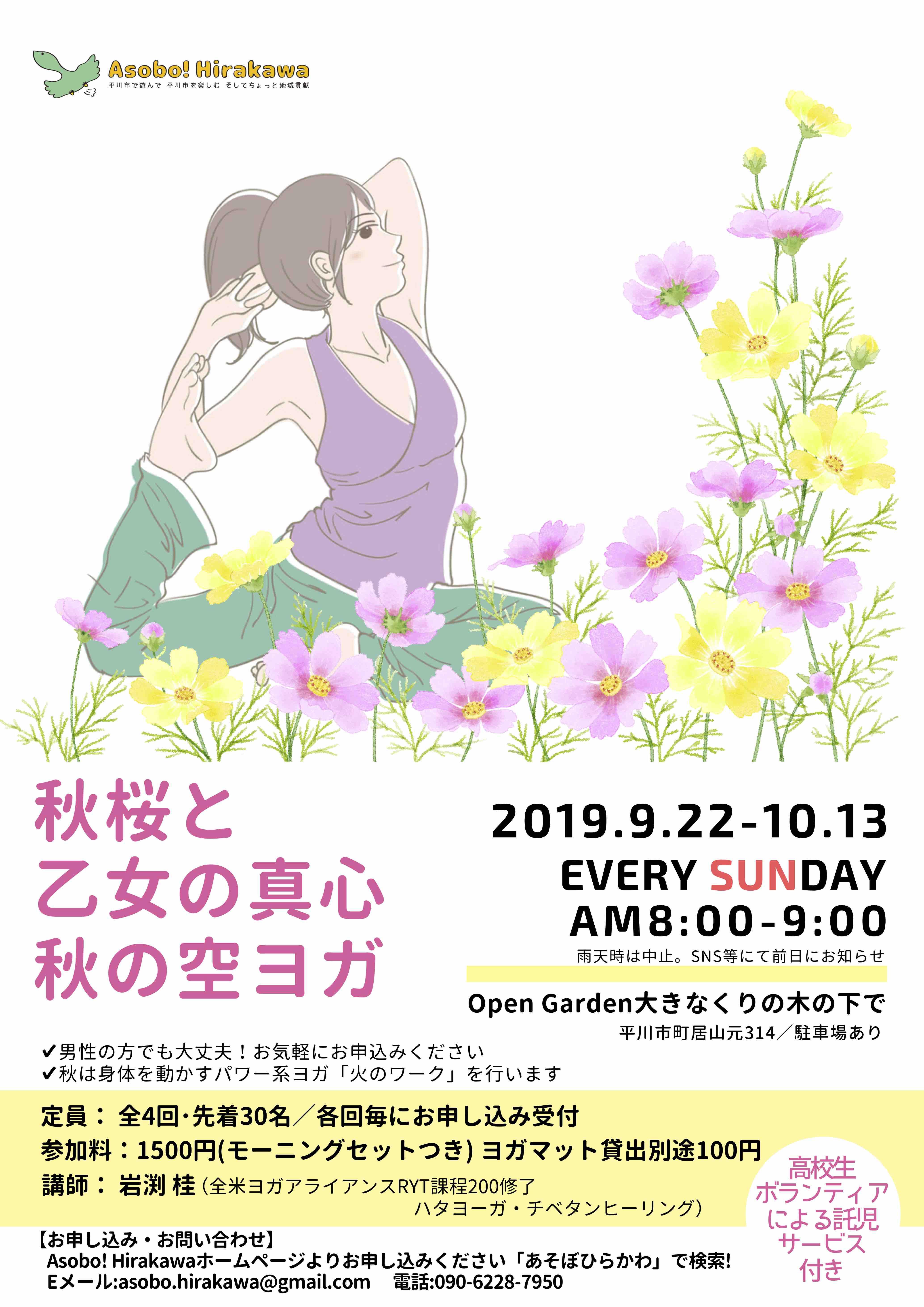 秋桜と乙女の真心 秋の空ヨガのコピー