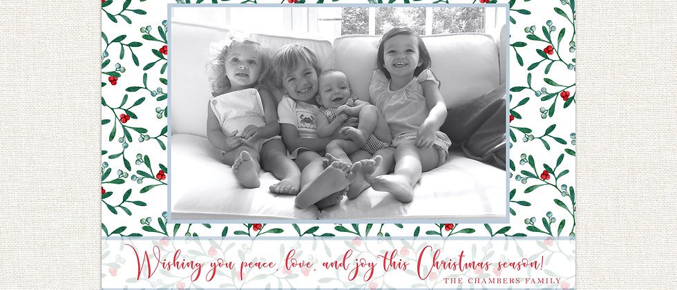 Christmas Card-Rectangle Floral Background