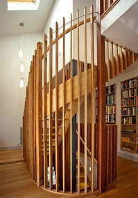 Doubl spiral staircase. Solid American ash and recycled rimu. 'Supreme Award' 2016