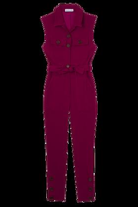 Macacao Sarja Com Bolsos Frente E Cinto Pink