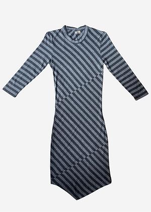 Vestido curto canelado listrado - COL0194