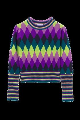 Tricot Lã Est/colorida Mg/longa Roxo