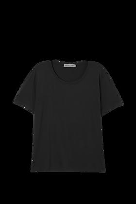 Blusa Decote Redondo, Básica, Comprimento Curto Preta