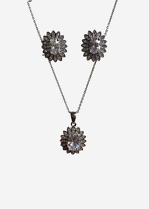 Conj. colar + brinco flor com zirc. - 815