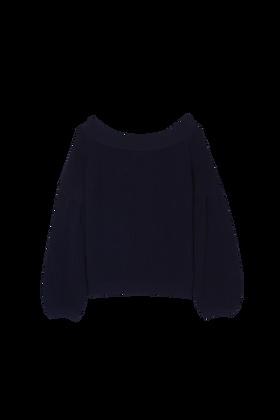 Blusa Ombro Caído Azul Marinho