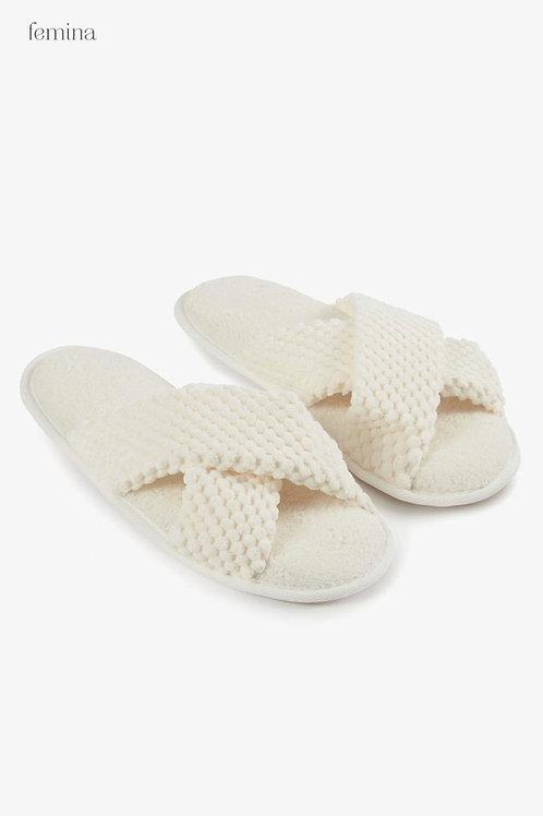 נעלי בית רכות קרם - femina
