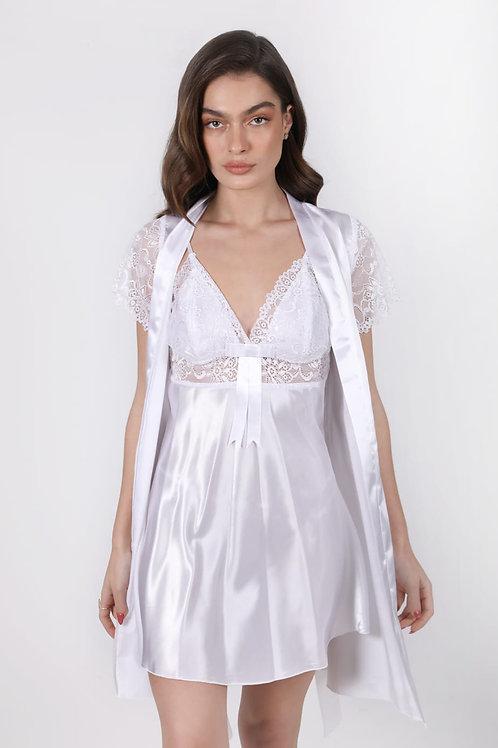 סט שמלה וחלוק סאטן כלה לבן