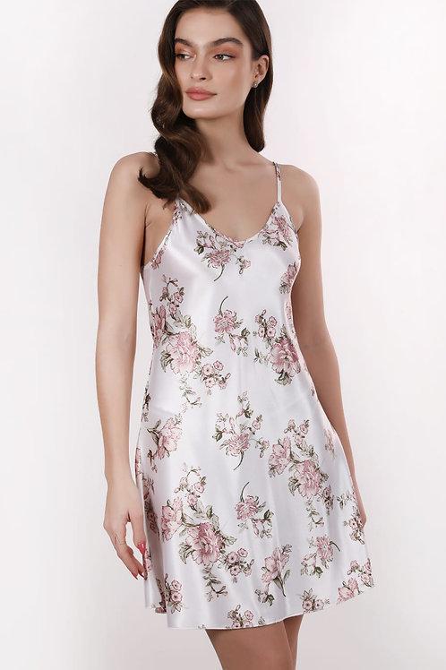 שמלת כותונת סאטן לבן פרחים