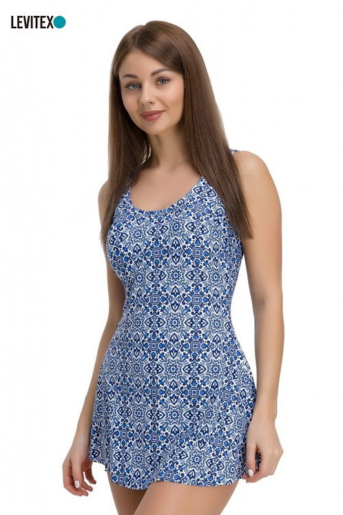 בגד ים שמלה בהדפס כחול/לבן Levitex