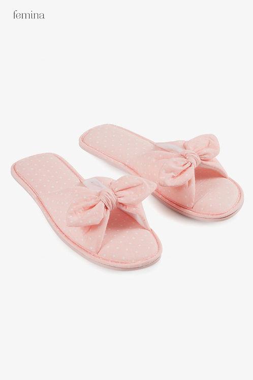 נעלי בית פפיון ורוד נקודות - femina