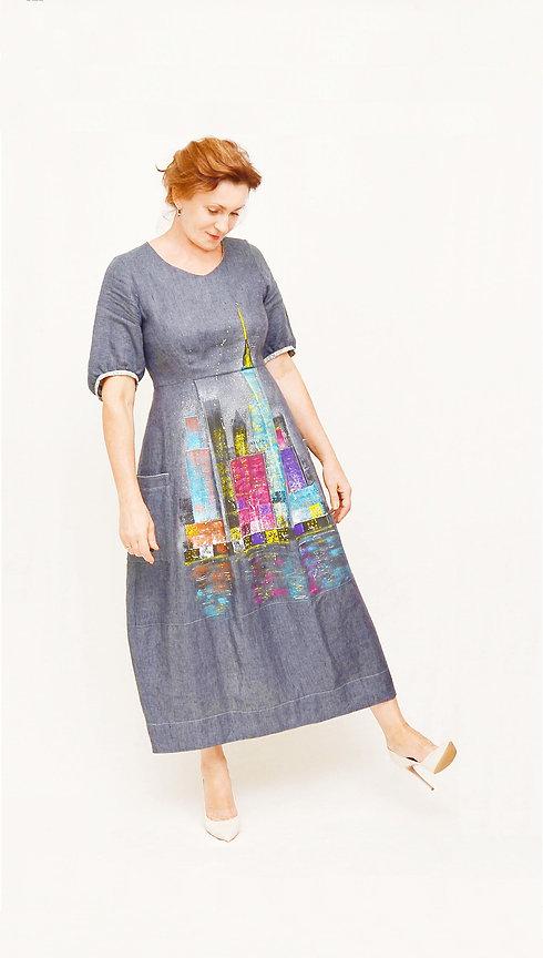 1. Ночные огни. платье  Сф-0151. Ручная