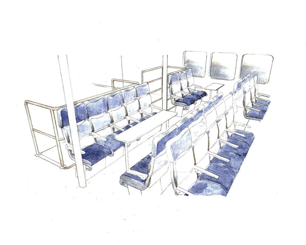 Ferry interior - Group seats. 210mm x 297mm. Watercolor on paper.