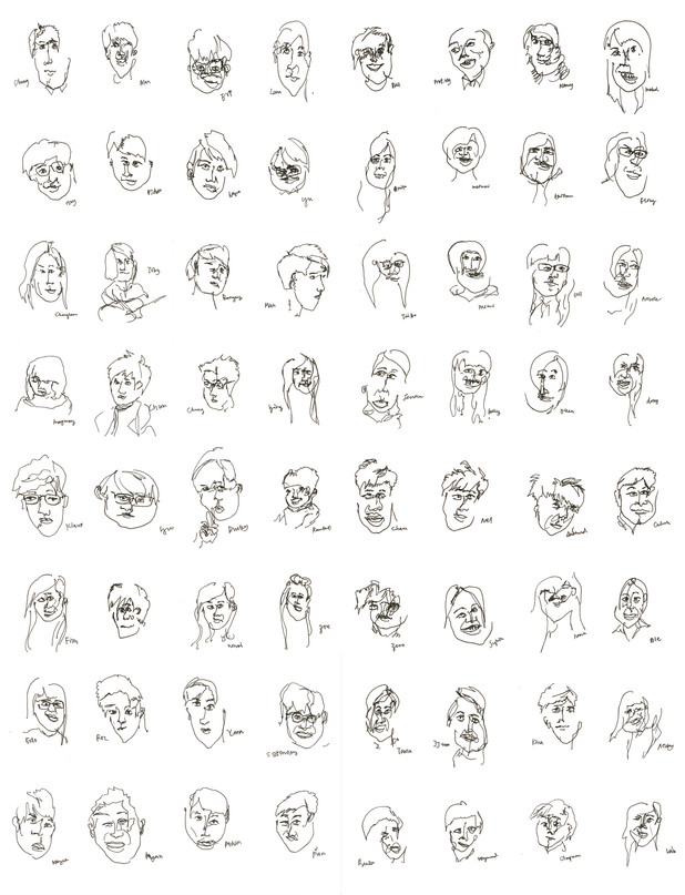 64 Random Blind Sketches - Whoever I See, I Sketch.