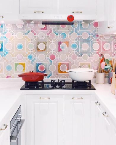 Handmade Resin Tile Kitchen Wall