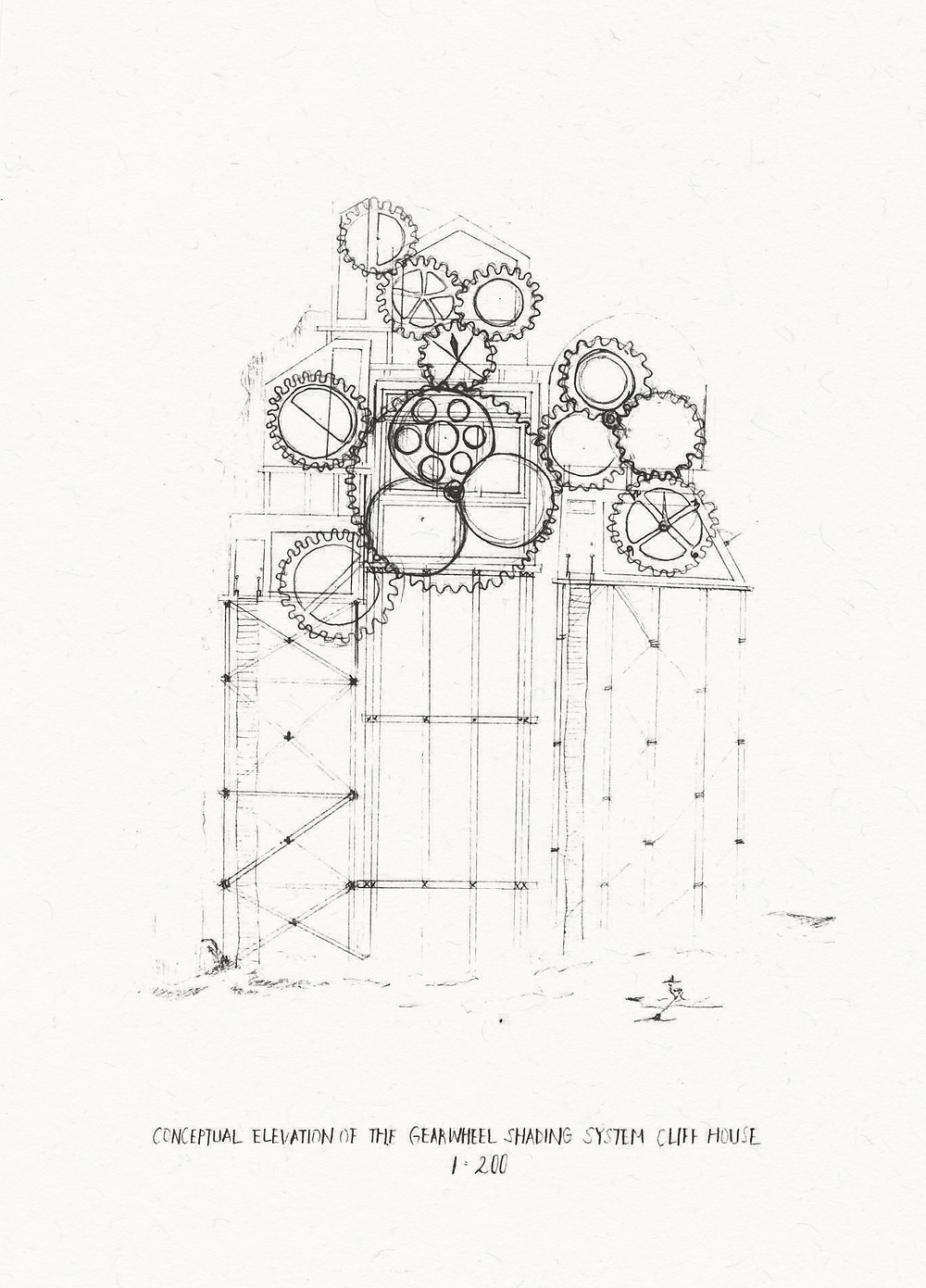 'Conceptual Elevation of the Gearwheel Shading System Cliff House'. 210mm x 297mm. Pencil on paper.