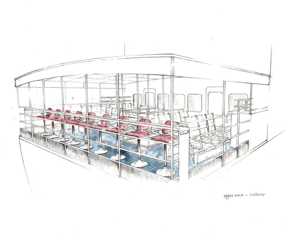 Ferry interior - Bar tables. 210mm x 297mm. Watercolor on paper.