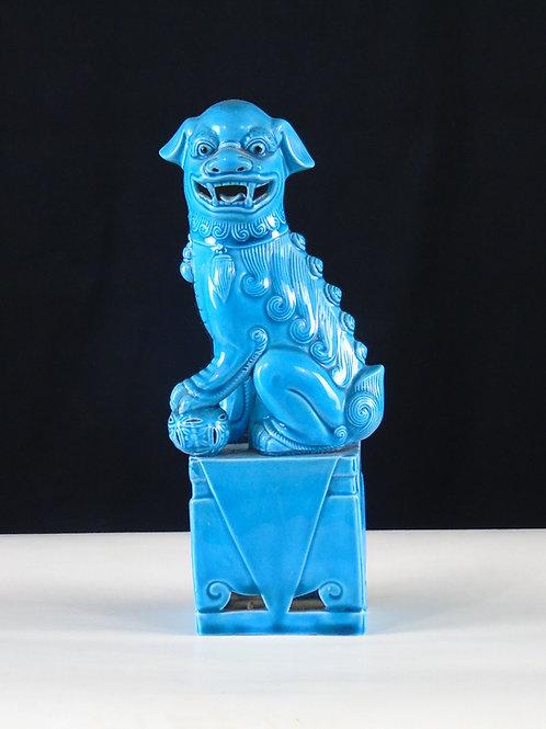Statue Chien/Lion bleu Chinois