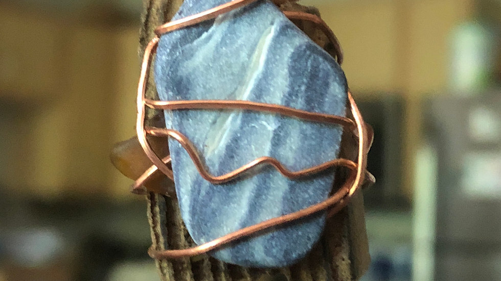 Wire-Wrapped Driftwood & Abalone Pendant