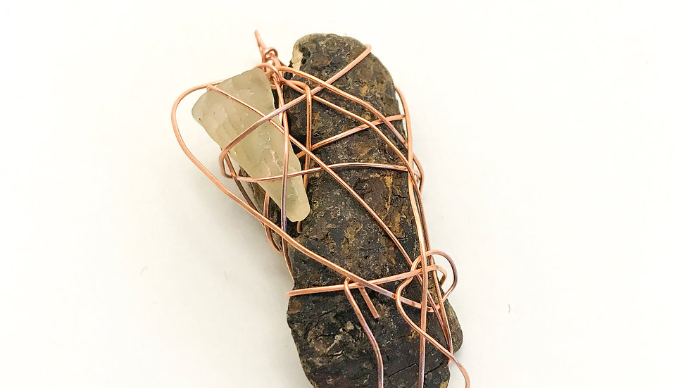 Wire-Wrapped Driftwood & Sea Glass Pendant