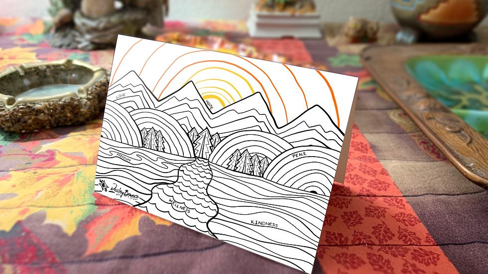 Daytime Mountain Scene Affirming Greeting Card