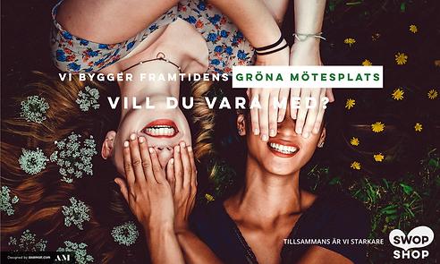 Bild på två glada personer med blommor omkring. Text som säger vi bygger framtidens gröna mötesplats, vill du vara med?