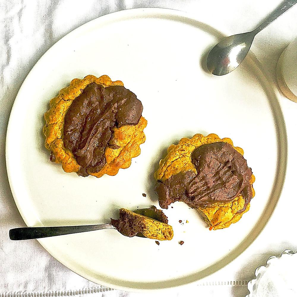 Gâteaux marbrés potimarron-chocolat noir