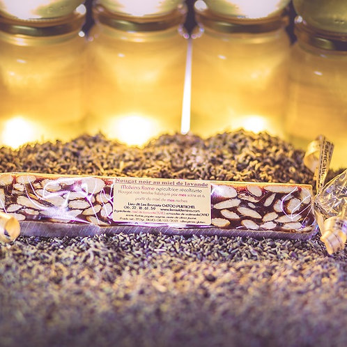 Nougat noir tendre au miel de lavande et amandes de Valensole