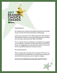 Readers' Choice Award for being in the top 6 businesses in Mississauga