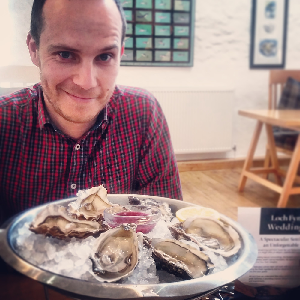 The Oysterman sampling oysters at Loch Fyne Oyster Bar