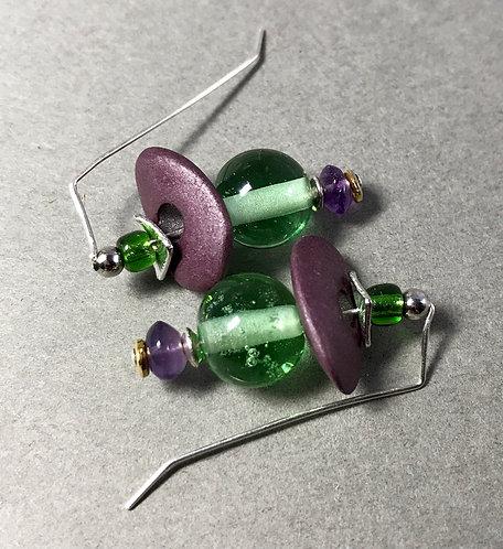 Hobbit Earrings Purple and Green #1