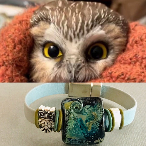 Silver Frit with Swirl and Owl Charm