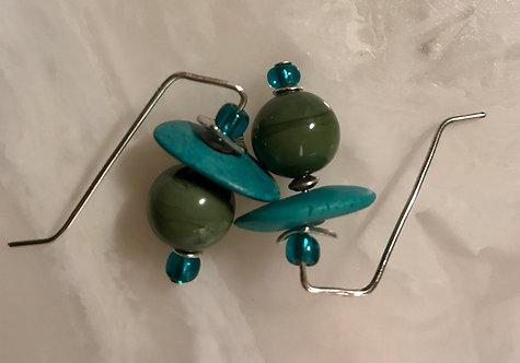 Hobbit Earrings Blue and Green #2