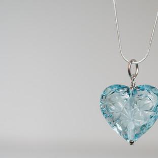 Blue Glass Heart - $69