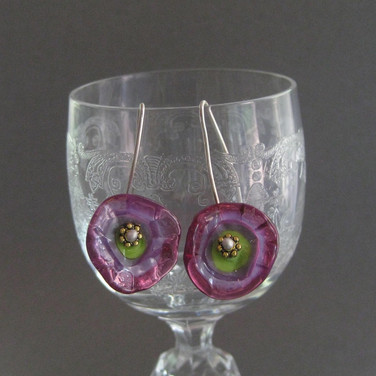 View 2, Pink and Green glass flameworked flower earrings  - $22