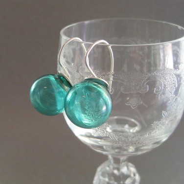 Transparent Aquq Blown Hollow earrings - $22