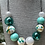 Thumbnail: Teal Gold & Grey Blown Hollow Necklace
