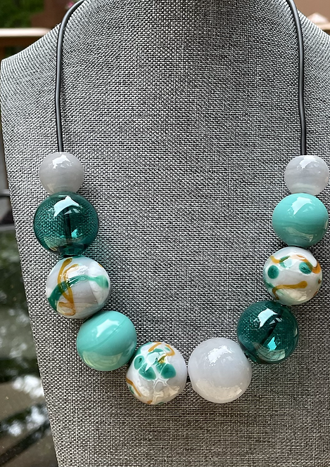Teal Gold & Grey Blown Hollow Necklace