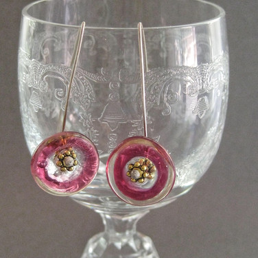 Deep pink and Clear flameworked glass flower earrings - $22