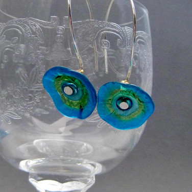 Transparent Blue and Green Flower Earrings - $22