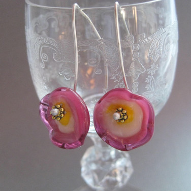 V.iew 2,  Pink and yellow glass flameworked flower earrings - $22