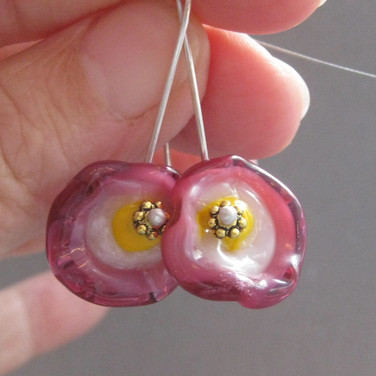 Pink and Yellow glass flameworked flower earrings  - $22